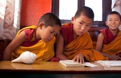 Pequeños monjes budistas en monasterio fotografía de archivo