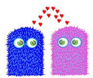 Pequeños monstruos dulces en amor Fotografía de archivo