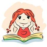 Pequeños muchacha y Libro verde ilustración del vector
