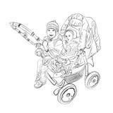 pequeños niños en el cuarto de niños del cochecito ilustración del vector