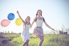 Pequeños niños felices que juegan en el campo en el tiempo del día Imagen de archivo