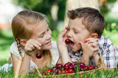 Pequeños niños felices que mienten cerca del árbol con una cesta de cherr Imagenes de archivo