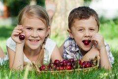 Pequeños niños felices que mienten cerca del árbol con una cesta de cherr Fotos de archivo libres de regalías
