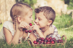Pequeños niños felices que mienten cerca del árbol con una cesta de cherr Foto de archivo
