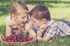 Pequeños niños felices que mienten cerca del árbol con una cesta de cherr Imágenes de archivo libres de regalías