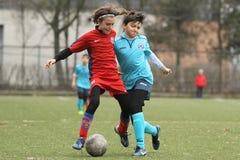 Pequeños niños que juegan a fútbol o a fútbol Fotografía de archivo libre de regalías