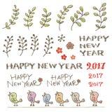 Pequeños pájaros, planta y palabras del saludo del Año Nuevo Fotos de archivo libres de regalías