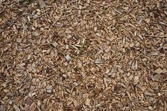 Pequeños pedazos de madera y de corteza en una superficie horizontal foto de archivo libre de regalías