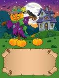 Pequeños pergamino y espantapájaros de Halloween ilustración del vector