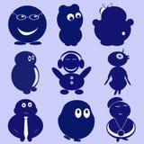 Pequeños personajes de dibujos animados divertidos Foto de archivo