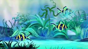 Pequeños pescados Azul-amarillos del acuario en un tanque ilustración del vector