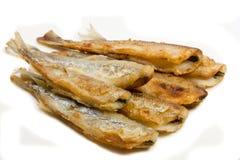 Pequeños pescados fritos del eperlano Foto de archivo libre de regalías