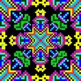 Pequeños polígonos coloreados brillantes en un fondo negro ilustración del vector