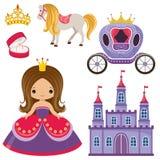 Pequeños princesa, castillo y carro libre illustration