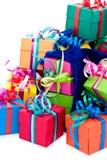 Pequeños rectángulos de regalo y bolso azul Fotografía de archivo libre de regalías