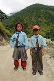 Pequeños schoolchilds en la India Imagen de archivo libre de regalías