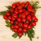 Pequeños tomates e hierbas frescas en fondo de madera Fotos de archivo libres de regalías
