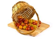 Pequeños tomates en una cesta Fotografía de archivo