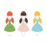 Pequeños tríos de la princesa stock de ilustración
