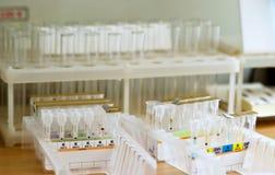 Pequeños tubos con los elementos de la sangre Imagen de archivo libre de regalías