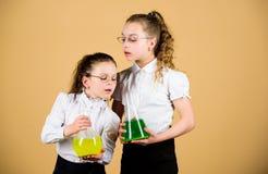peque?as muchachas elegantes con el frasco de prueba De nuevo a escuela Conocimiento y educaci?n Los ni?os estudian en la lecci?n foto de archivo