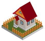 Pequeña casa isométrica Imagen de archivo libre de regalías