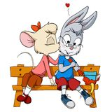 Pequeña hembra del ratón que besa al muchacho tímido del conejo Foto de archivo libre de regalías