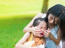 Pequeña muchacha asiática gritadora Imágenes de archivo libres de regalías