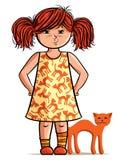 Pequeña muchacha del red-head con el gato rojo Imagenes de archivo