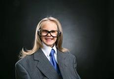 Pequeña muchacha divertida del negocio Foto de archivo libre de regalías