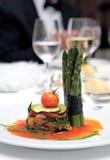 Pequeña placa del alimento gastrónomo en la boda Fotografía de archivo