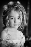 Pequeña princesa de la foto monocromática del vintage Imagen de archivo