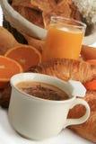 Pequeno almoço, café, pão e frutas Fotos de Stock Royalty Free