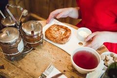 Pequeno almoço com panquecas Fotografia de Stock Royalty Free