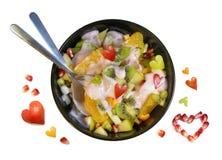 Pequeno almoço da fruta dos Valentim Imagem de Stock Royalty Free