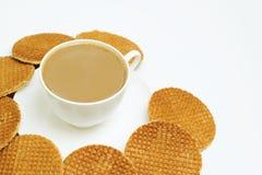 Pequeno almoço doce com waffle. Imagem de Stock