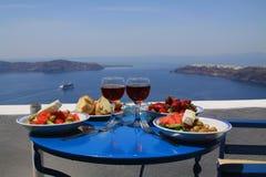 Pequeno almoço ideal no santorini Imagem de Stock