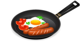 Pequeno almoço na bandeja ilustração stock