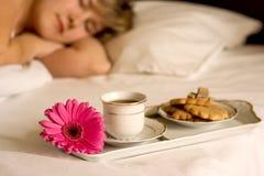 Pequeno almoço na cama Fotos de Stock Royalty Free