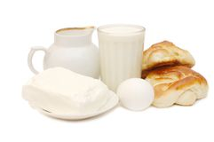 Pequeno almoço saudável - leite, ovos, queijo de casa de campo Imagem de Stock Royalty Free
