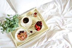 Pequeno almoço saudável na cama Fotos de Stock