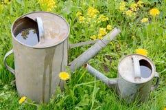 Pequeno da lata molhando do jardim grande Imagem de Stock