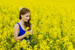 Pequeno modelo de Beautyful no campo do canola fotos de stock royalty free