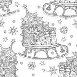 Pequeno trenó tirado mão do esboço da garatuja do Natal Ilustração Stock