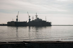Pequeño buque de guerra en el puerto, Báltico, Rusia del misil Imágenes de archivo libres de regalías