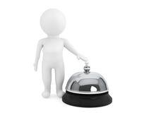pequeño carácter 3d con una campana del servicio Foto de archivo libre de regalías