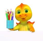Pequeño carácter divertido del dragón con la representación de los lápices 3d Imagenes de archivo
