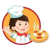 Pequeño cocinero con la pizza Ejemplo del vector en un b blanco Imagenes de archivo