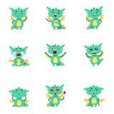 Pequeño Dragon Cute Emoji Set Imagen de archivo libre de regalías