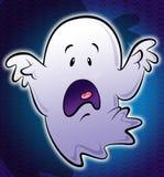 Pequeño ejemplo asustadizo blanco lindo del fantasma de la historieta en backg azul Fotografía de archivo libre de regalías